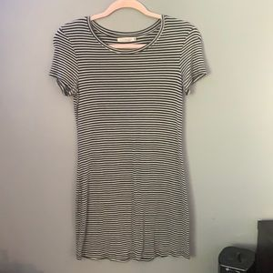 White and Dark Green Striped Dress